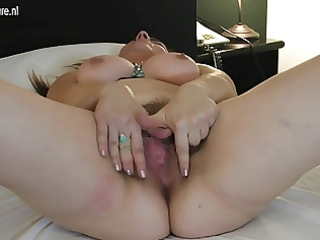 excited aged mom acquires her curly snatch moist