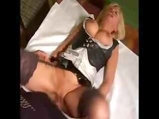 breasty aged blond maid nibbles on his boner then