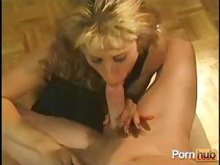 aged blond non-professional housewife gives him a