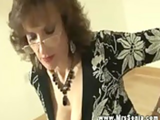 sexy breasty aged makes youthful stud foot