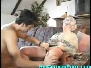 german grandmother catches her guy masturbating