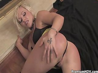 golden-haired mommy teasing and striping