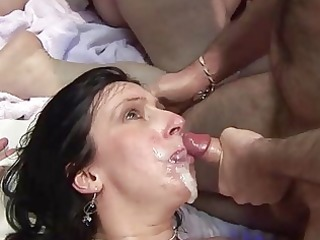 aged screwed hard and taking facial cum