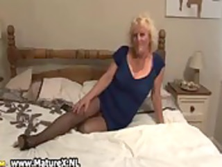 blond aged housewife in sexy dark