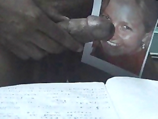 cum tributed by me from by dark penis to my