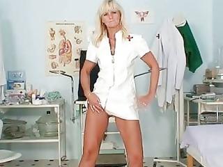 aged frantiska slit gaping in nurse uniform at