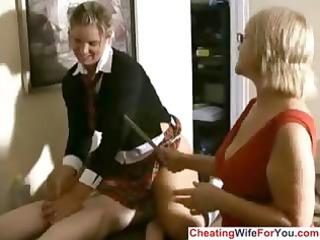 aged boss loves to watch handjobs