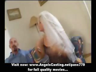 hawt blond mother i as bride does fellatio and