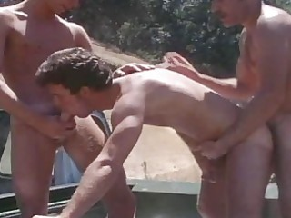vintage aged boys drilling outdoor