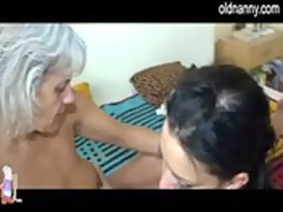 watch concupiscent aged lesbo sex with a younger
