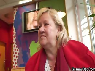giant granny swallows his horny weenie