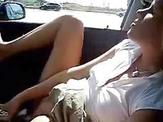 My hot wife masturbating in car. Amateur public