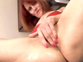 redhead older in the kitchen