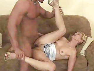 aged granny gives a blowjob and is drilled
