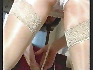 smokin bushy granny in nylons over shiny pantyhose
