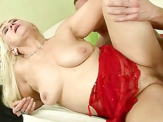 breasty granny enjoys hard sex with a lad