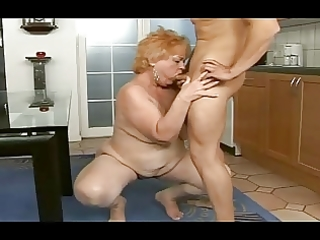 obese granny acquires a facial from a guy