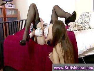pretty aged british lesbo in nylons drilled with