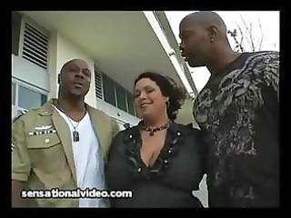 Big tit latina wife fucks 2 big black cocks