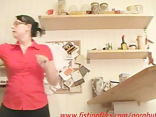 non-professional wife anal fisted in the kitchen