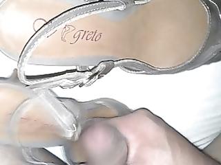 cum on wifes hot brown sandal heel.