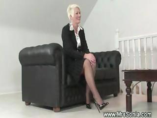 aged lady shows her wicked underware