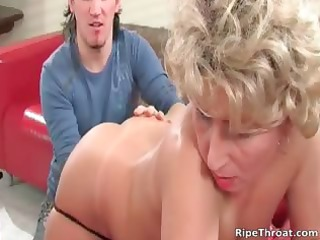 concupiscent golden-haired mother i receives her