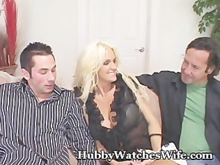 cougar wife bonks youthful stud as hubby watches