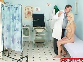 slim shaggy granny woman doctor treatment