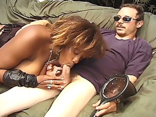 breasty darksome momma milking huge white knob