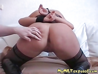 Amateur MILF exposed in BDSM play - anal toys and