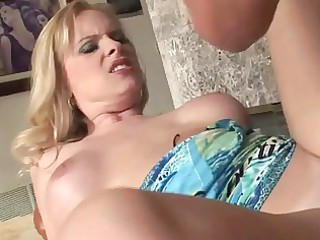 breasty milf golden-haired cougar gives