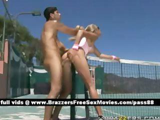 older bare blond hottie on the tennis court
