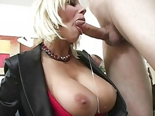captivating breasty golden-haired milf engulfing