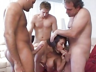 dark haired milf with large boobies sucks large