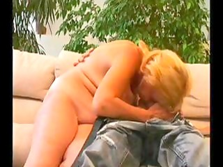 old blond granny receives a juvenile guy to blow