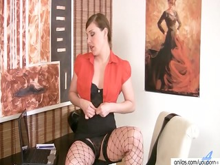 sexy office mother i in fishnets