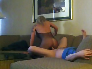 Blonde wife fucked in Vegas hotel room. Mesh body
