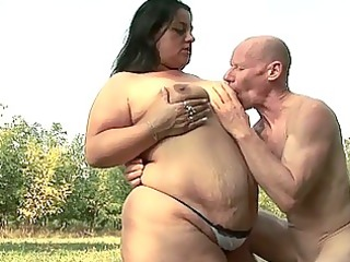 fatty playgirl desires to fuck granpa with his