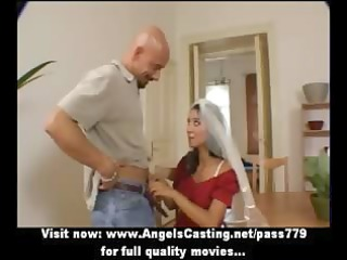 dilettante adorable dark brown wife undressing