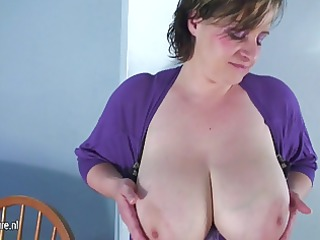 biggest breasted older mamma playing alone