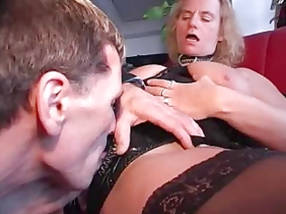 granny in pvc and nylons eats cock and copulates