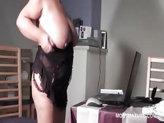 big beautiful woman older in glasses rubbing twat