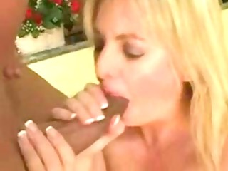 Plump blonde MILF lets his huge chocolate stick