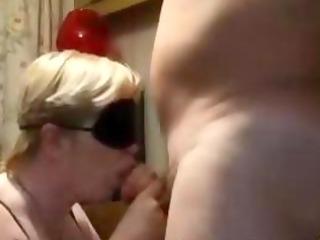 blindfolded older gives bj and gets doggystyled