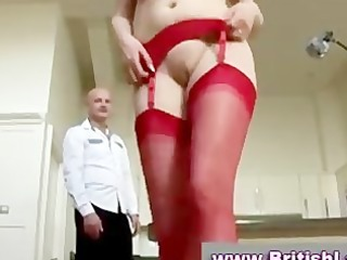 tall aged redhead in nylons and heels