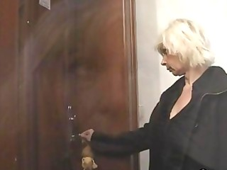 blond granny allows him drill her wet crack
