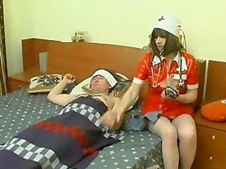 aged nurse at patient abode