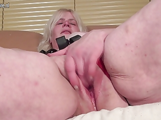 perverted granny getting her bawdy cleft soaked