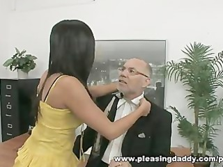 youthful slut bonks older boss to receive the job